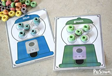 This is a fun activity to learn preschool colors with fruit loops and gumball printables