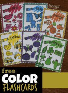 FREE Color Flashcards have so many clever uses to teach colors to toddler, preschoolers, and kindergarten. #colors #kindergarten #homeschooling