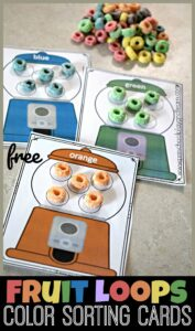 Practice color sorting with these adorable gumball cards for preschoolers