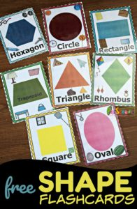 FREE Shape Flashcards have so many ways to help toddler, rpeschool, and kindergarten age kids learning shapes including a shape scavenger hunt #shapes #preschool #preschoolmath