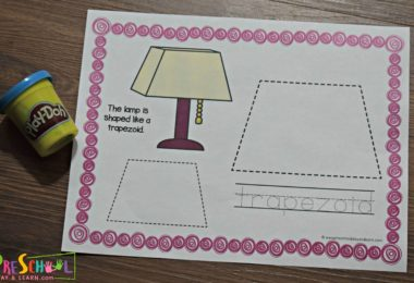 Free preschool shapes activities using playdough for prek.