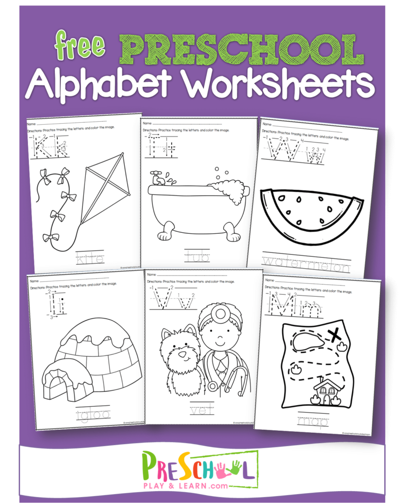 FREE Preschool Worksheets to help kids practice writing alphabet letters and alphabet coloring pages #alphabet #coloringpages #preschool