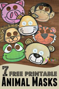 Printable Animal Masks are such a fun zoo theme kids activity for toddler, preschool, and kindergarten age kids. Includes pig, monkey, giraffe, lion, tiger, frog, and bear animals for kids #animals #toddler #preschoolers