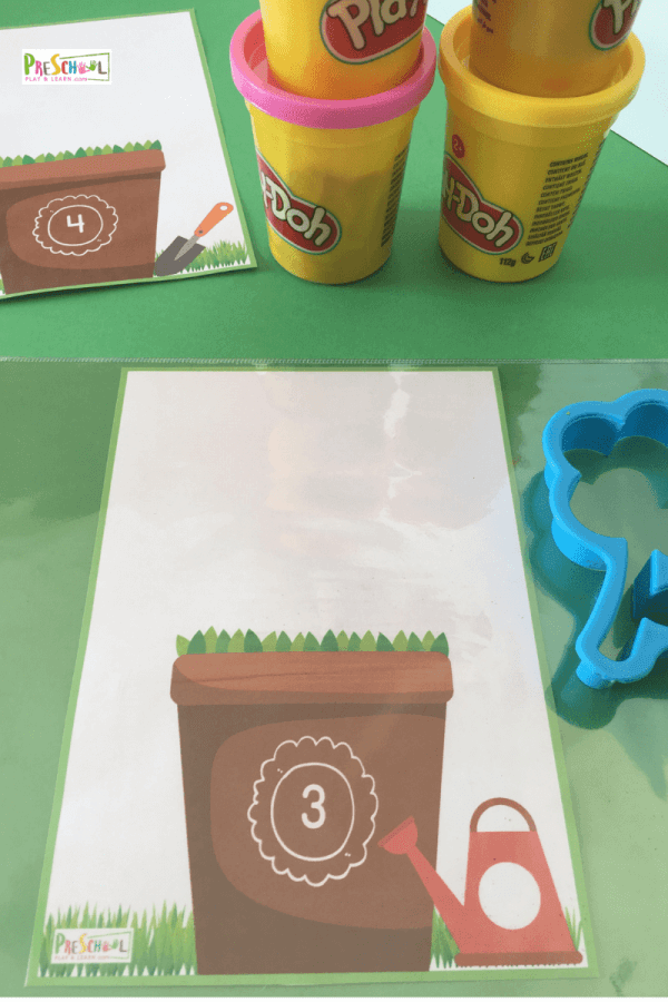 Print and laminate the numbers 1-10 printable flower pot math activity