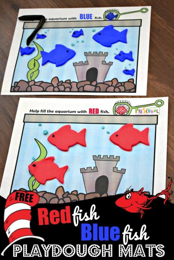 FREE Red Fish Blue Fish Playdough Mats - this is such a fun free printable color recognition activity perfect for Dr Seuss birthday in March. Such a fun kids activity for toddler, preschool, prek, and kindergaten age kids #drseuss #playdoughmats #colorrecognition