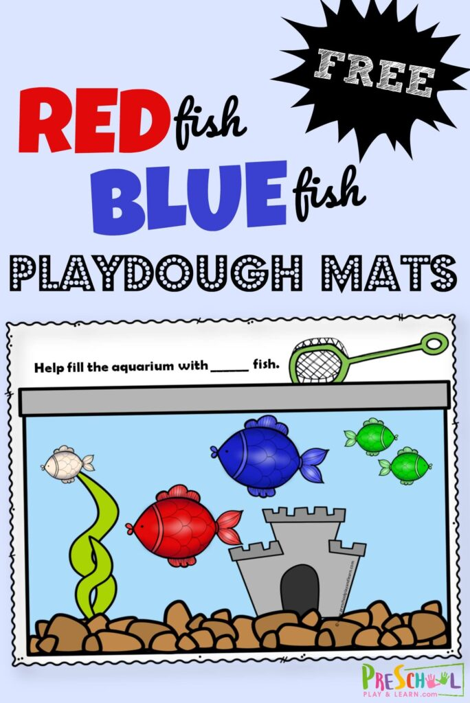 FREE Red Fish Blue Fish Playdough Mats - super cute free printable to help toddler, preschool, prek, and kindergarten age kids practice color recognition. Perfect for Dr Seuss day in March. #colors #preschool #playdoughmats #drseuss