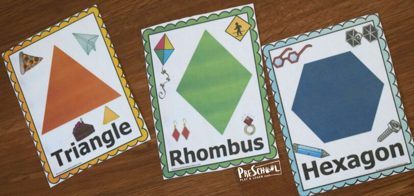 triangle, rhombus and hexagon shape flashcards