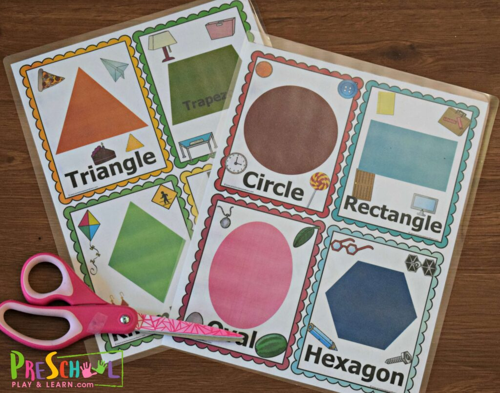 super cute, colorful shape printables for preschoolers