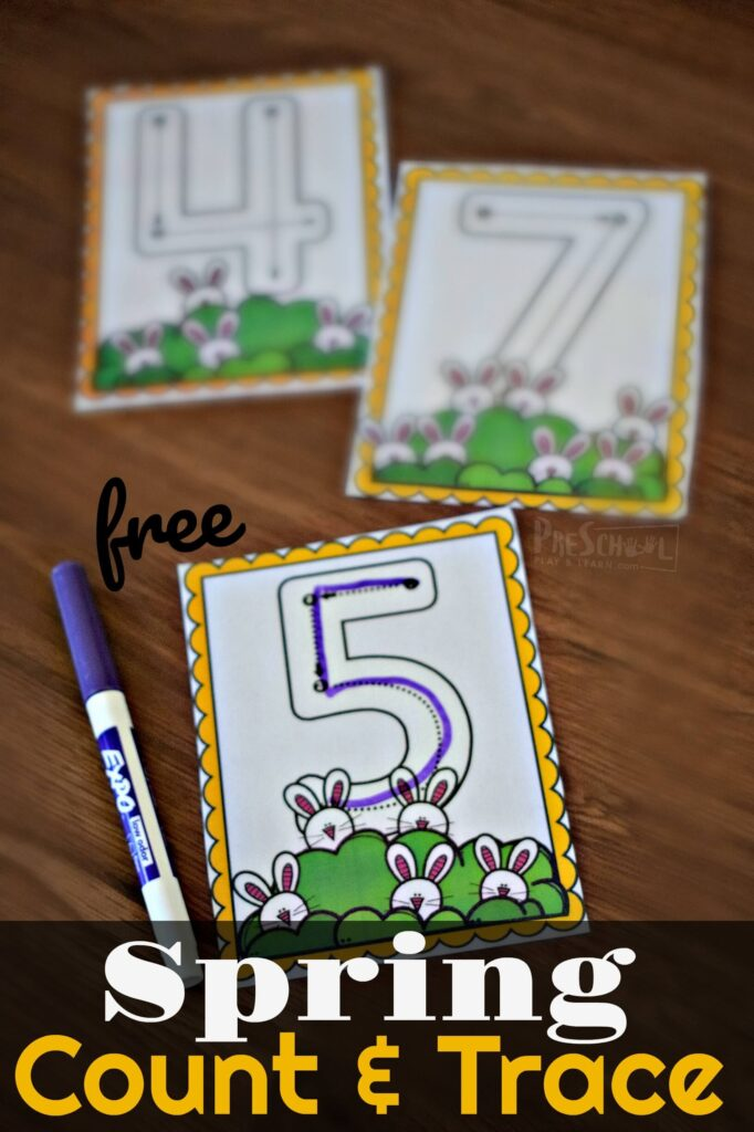 FREE Spring Count & Trace Cards - free printable number cards to help kids practice counting to 10, tracing numbers, and more math fun for toddler preschool, and kindergarten age kids. #tracingnumbers #counting #preschool