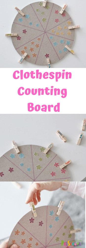 Sticker and Clothespin Counting Activity - this is such a fun homemade math activity for toddler and preschool count to 10. #preschool #counting #mathactivity
