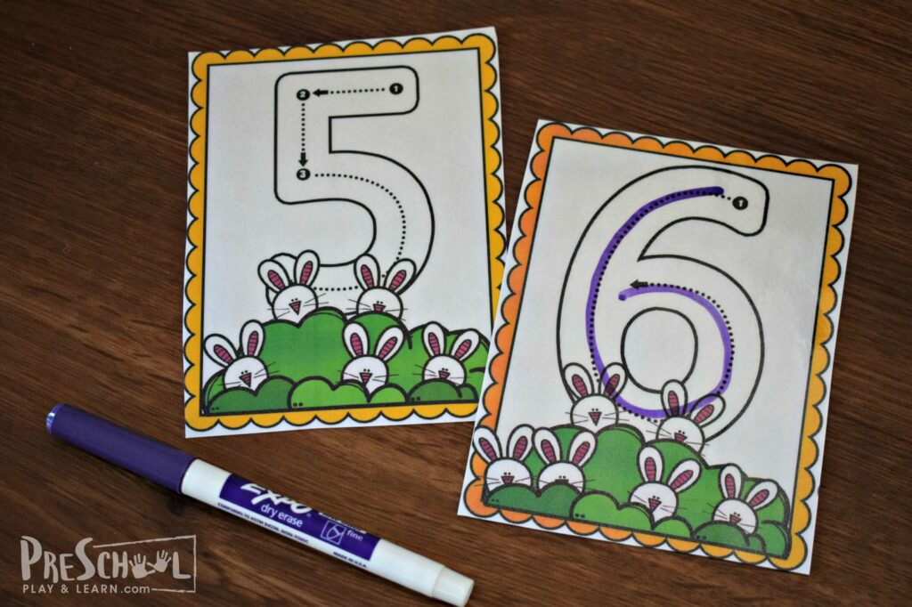 Trace the numbers with a dry erase marker, erase, and repeat!
