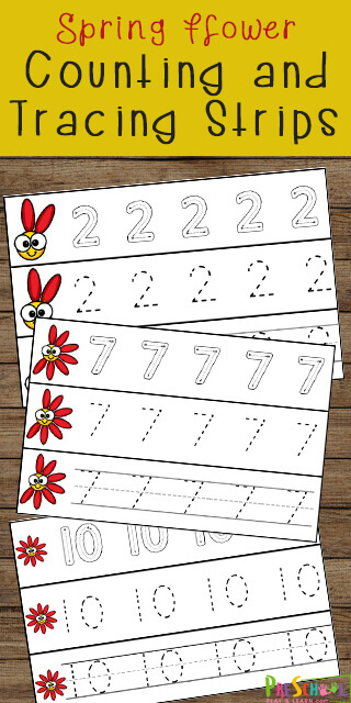 FREE Spring Number Tracing Worksheets - these free printable preschool math worksheets are a fun way for prek kids to practice counting and writing numbers 1-10 #numbers #preschool #tracing