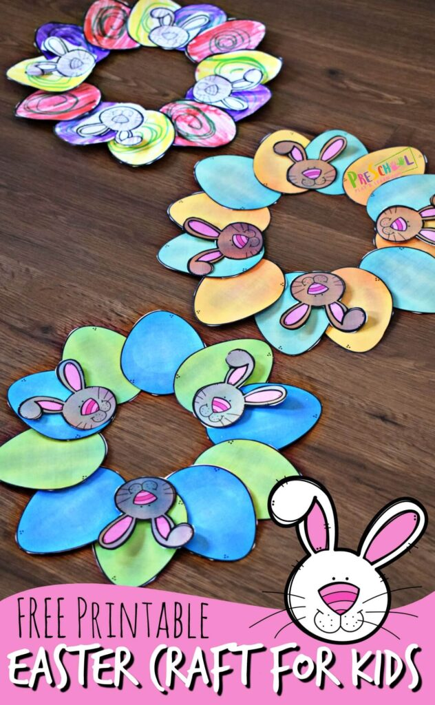 FREE Printable Easter Craft for Kids - this is such a cute, easy-to-make Easter wreath craft for toddler, preschool, kindergarten, and elementary age kids. Just print, color, cut and paste! #easter #craftsforkids #preschool
