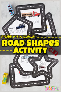 This outrageously fun shape activity for preschoolers uses our free printable road shape mats to practice making shapes and learning shape names too! The tracing shapes activity uses a hot wheel car to trace shape using these free printable Road Shape Mats. This learning shapes is such a fun, hands-on shape activities for kindergarten, pre-k, preschool, and toddler age students. Simply download pdf file with shape printables and you are ready to play and learn with this car activity for toddlers.