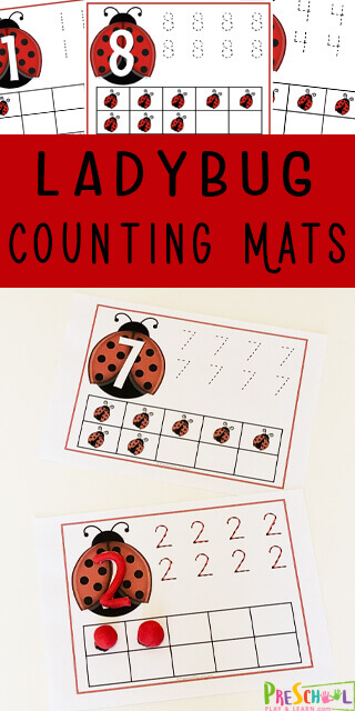 FREE Ladybug Counting Mats - these are such a fun preschool counting activity perfect for hands on math in the spring or summer. #counting #preschool #kindergarten