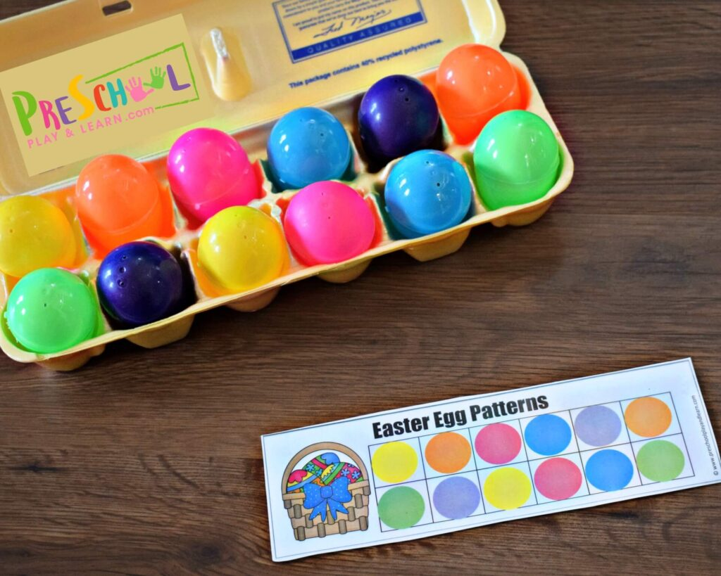 In this Pattern Activities for Preschool, kids will put the Easter eggs in the egg carton in the order specified on the pattern.