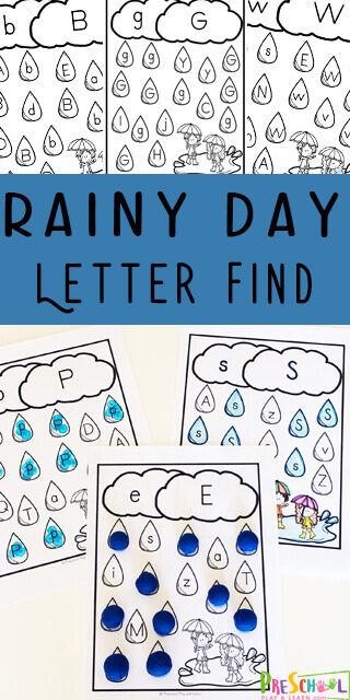 Children will love practicing preschool letter recognition with these super cute, FREE Printable spring worksheets preschool. These Rainy Day, spring theme letter find worksheets. Simply download pdf file with find the letter worksheets and you are ready for fun spring activities for preschoolers with a spring theme for kids.