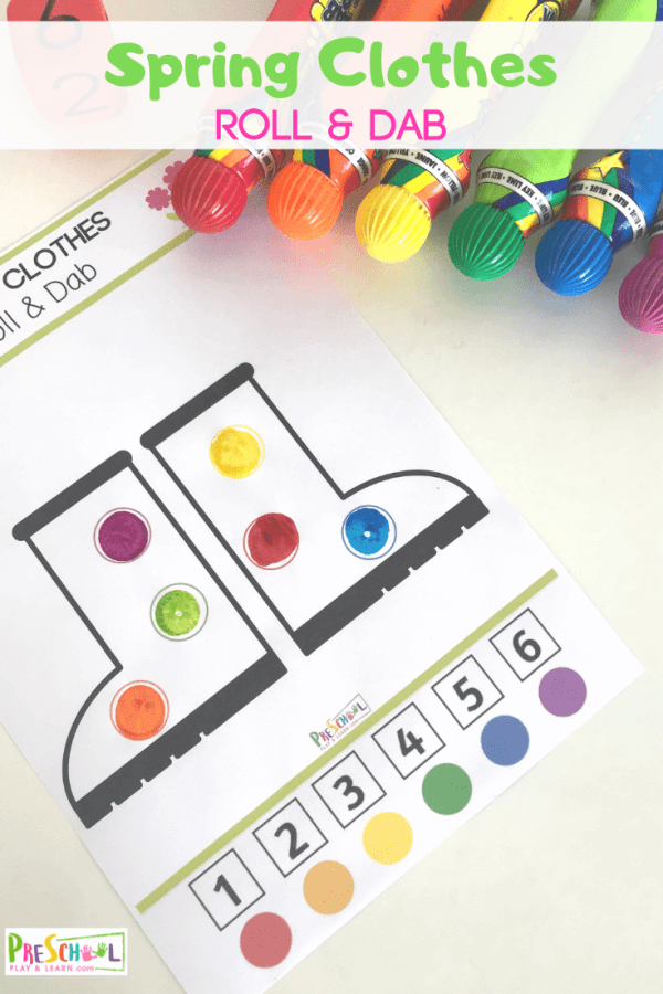 Help kids work on number recognition, color recognition, and have fun deocraing spring clothes with these free do a dot printables. Children will use bingo markers to decorate rain boots, rain jackets, dresses and shorts and don't forget the umbrellas! Here is a fun dabbing activity for your toddler, preschool, pre-k, and kindergarten age kids. Simply download pdf file with bingo dauber activity sheets and you are ready to roll & dab!