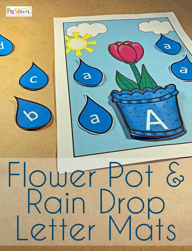 FREE Spring Flower Pot & Rain Drop Letter Match - this is such a fun letter recognition activity to help preschool and kindergarten age kids practice matching upper and lowercase letters with a fun spring alphabet game! #preschool #alphabet #letterrecognition