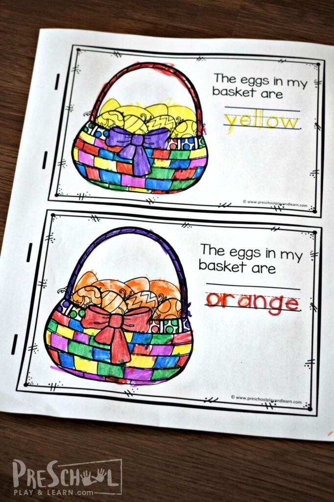 This Easter themed emergent reader for kids to make themselves is a fun way for teaching colors to preschoolers.