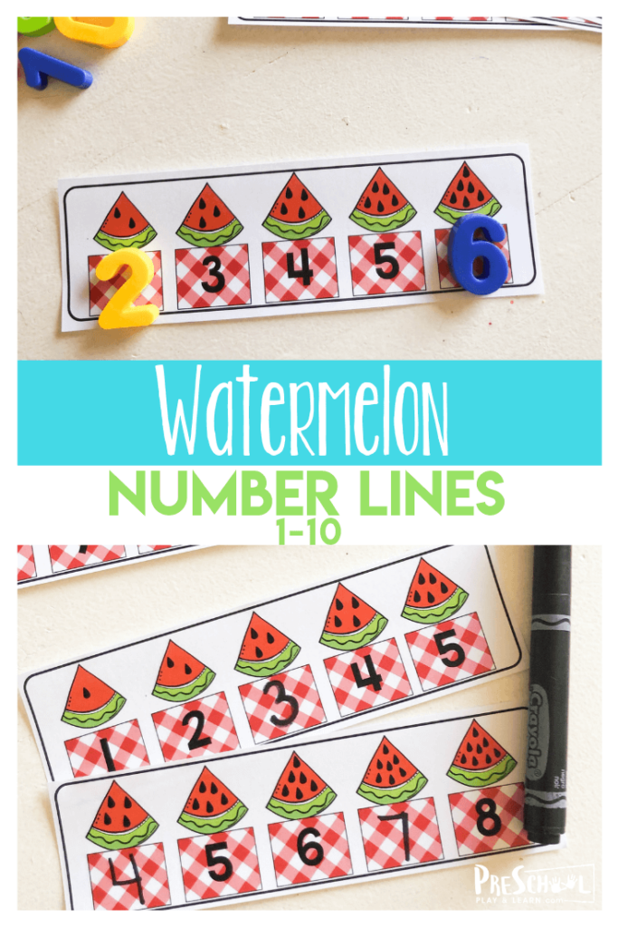 FREE Watermelon Number Lines- these free printable math number lines are a fun way for kids to practice counting to 10 and grasping the concept of what comes next! This is great for summer learning and math activities for preschoolers #preschool #preschoolers #mathactivities #numberlines