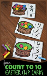 FREE Count to 10 Easter Clip Cards - this is such a fun math activity for preschoolers and kindergartners to make counting fun #easter #math #preschool