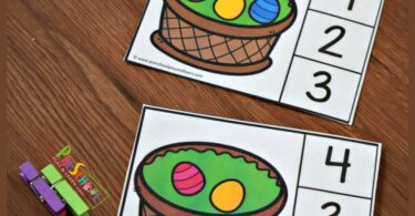 FREE Count to 10 Easter Clip Cards - this is such a fun math activity for preschoolers and kindergarteners to make counting fun #easter #math #preschool