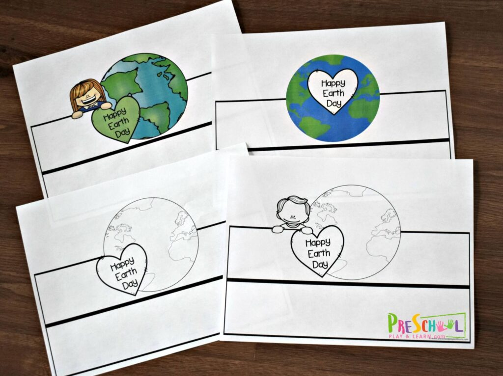 Print the earth day printables you'd like in color or black and whilte.