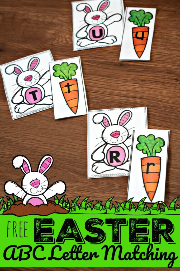 FREE Easter ABC Letter Matching Activity to help preschool and kindergarten age kids practice letter recognition of uppercase and lowercase letters #alphabet #easter #preschool