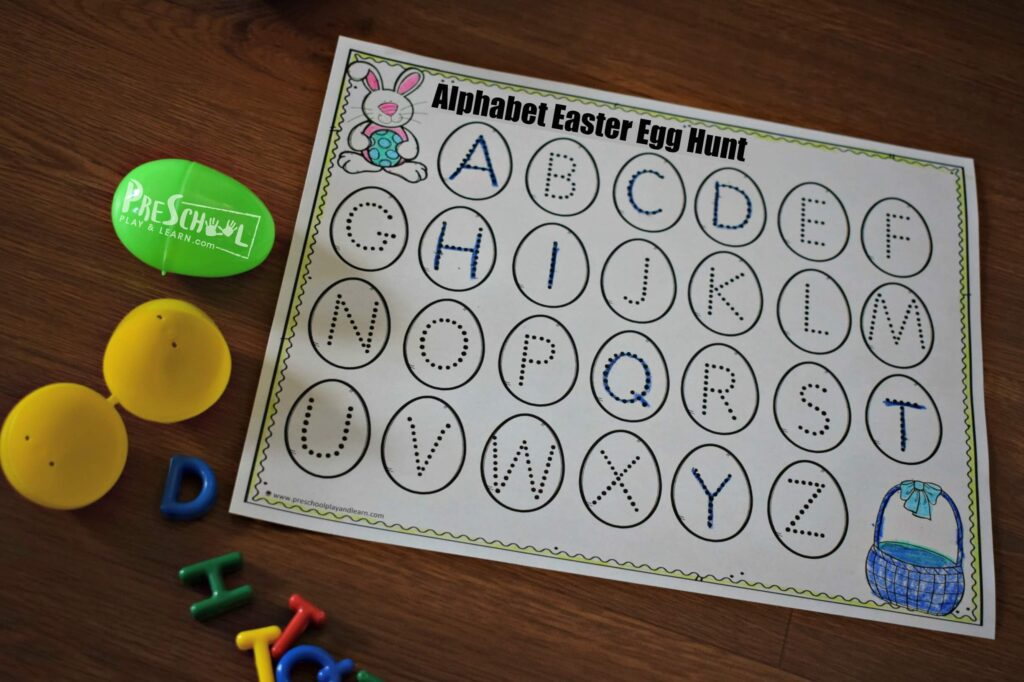This easter alphabet activity is a great learning activity for preschool and kindergarten age kids