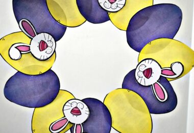 In this Easter craft for preschoolers kids will simple print, cut, and paste together this super cute Easter wreath