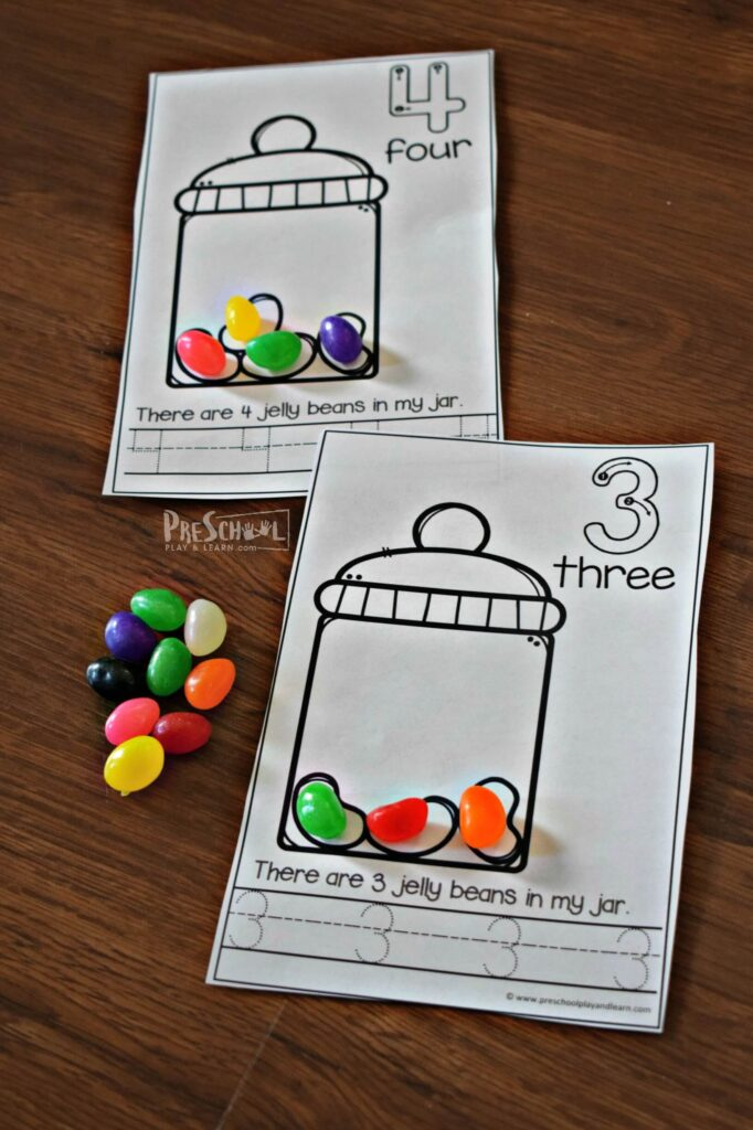 Students can practice one to one correspondence and counting manipulatives by using this easter printable with jelly beans for Easter math