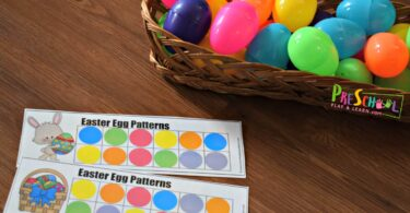 Set out Easter patterns for kids printable with plastic Easter eggs and you are ready for this hands on math activity for kindergarten and preschoolers