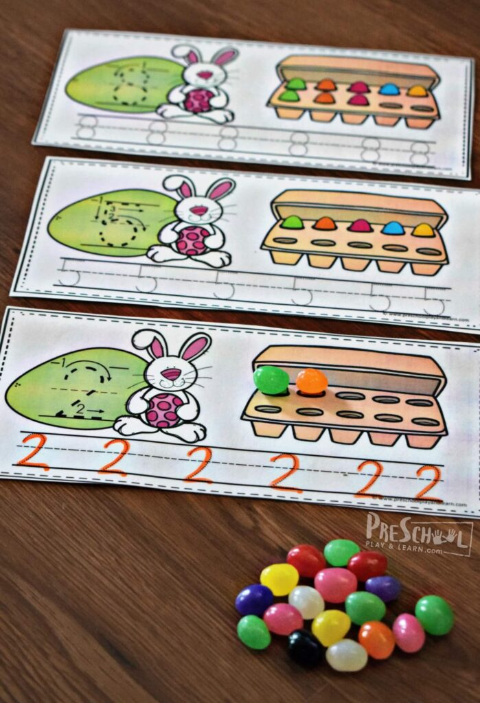Super cute FREE printable for writing numbers 1-10 with a cute Easter theme