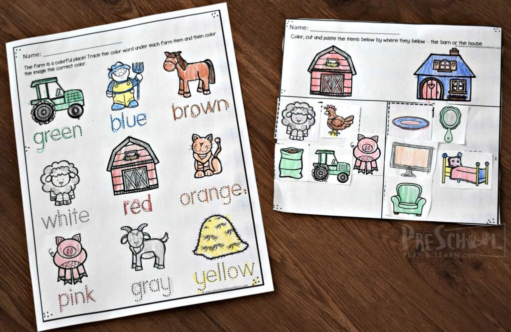 Super cute farm cut and paste worksheet for preschool and kindergarten