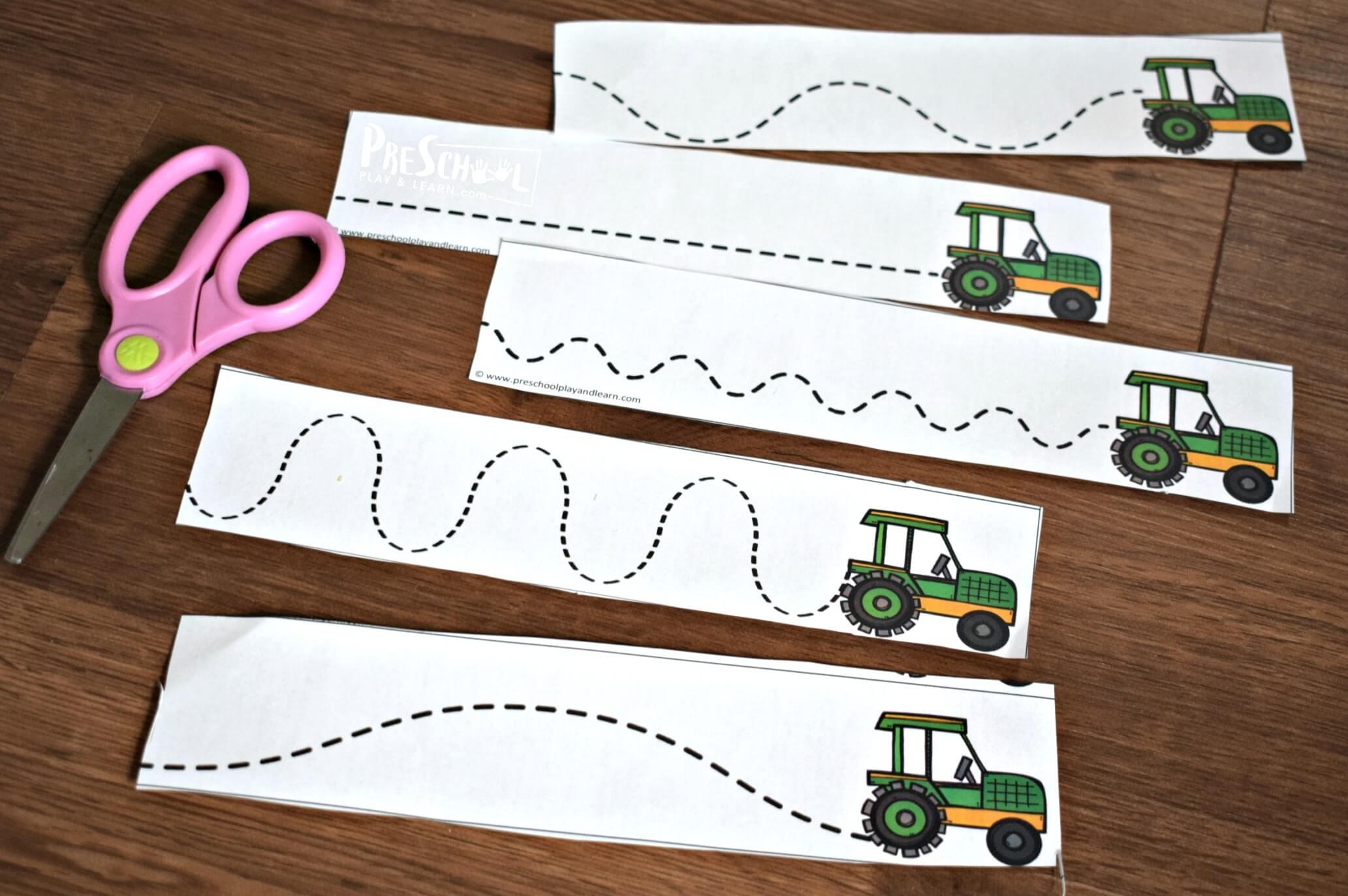 Free Printable Farm Cutting Practice Strips