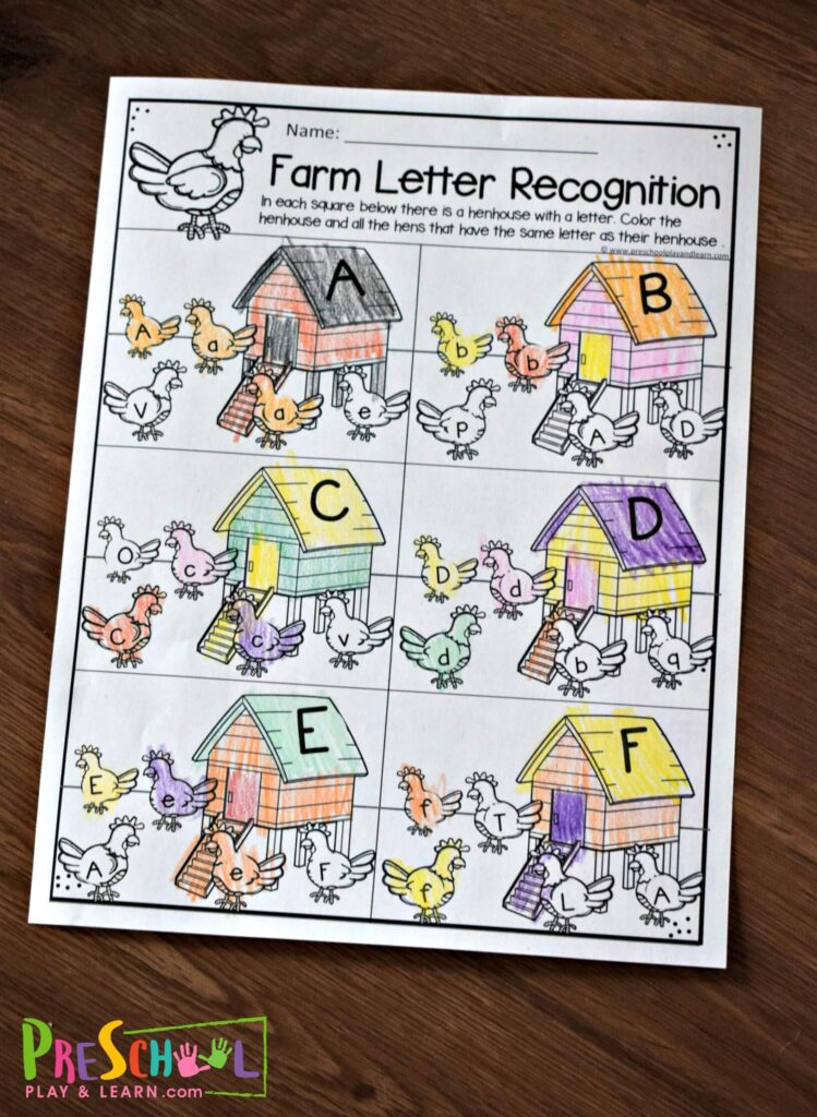 There are various fun worksheets to help kid practice letter recognition