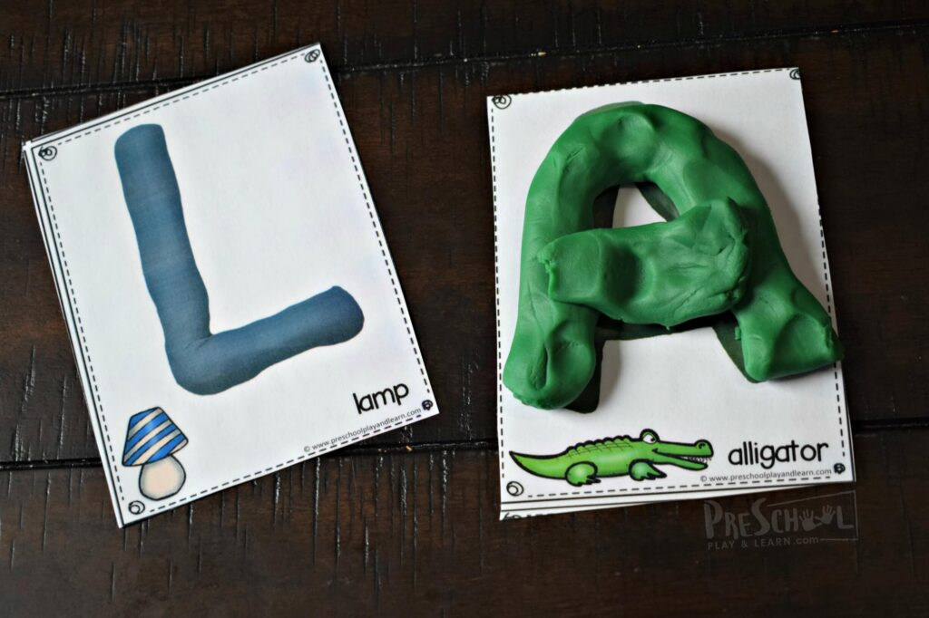 This free alphabet printable is perfect for helping kids practice forming uppercase letters with playdough
