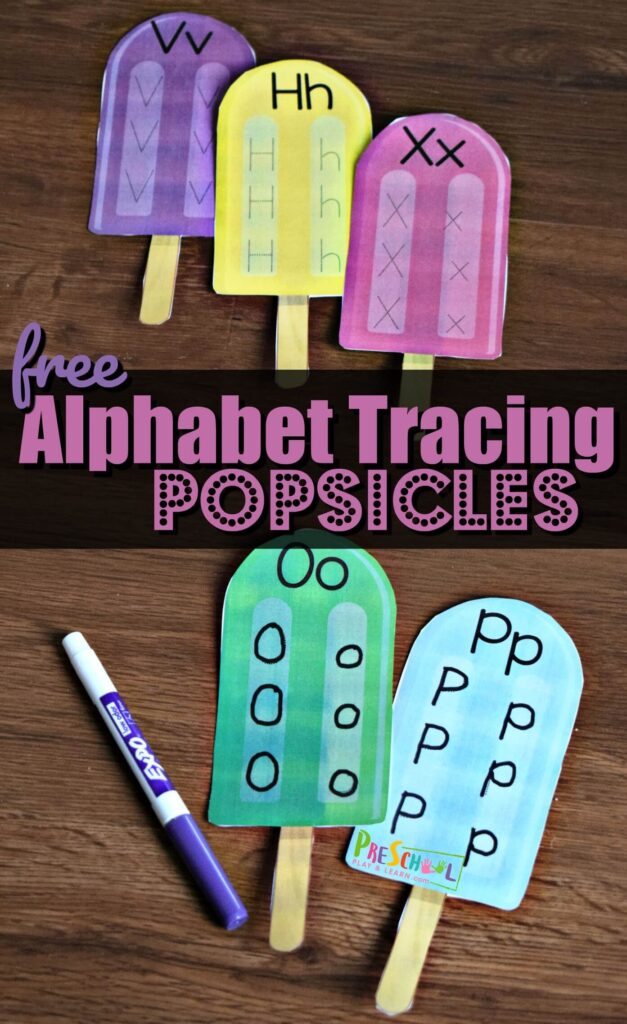 FREE Alphabet Tracing Popsicles - this free pritnable alphabet activity is a fun way for preschool and kindergarten age kids to practice tracing letters with a fun summer learning activity #alphabet #preschool #summerlearning
