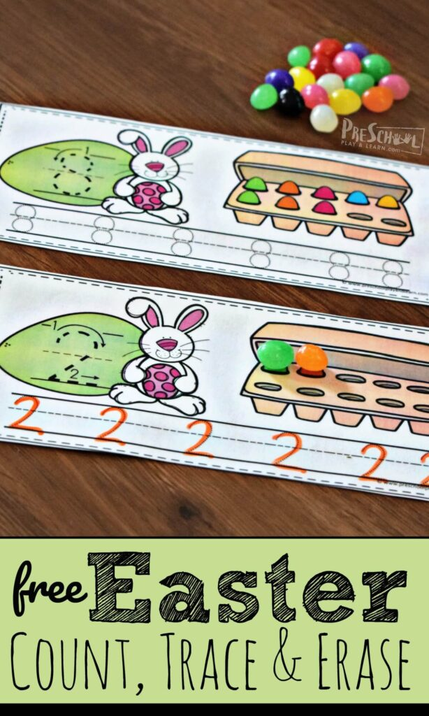 FREE Easter Count, Trace, and Erase - this is such a fun preschool activity for practicing numbers 1-10 #numbers #counting #preschool