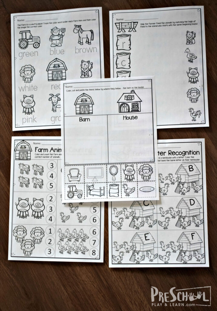 15 pages of free preschool worksheets with a farm theme