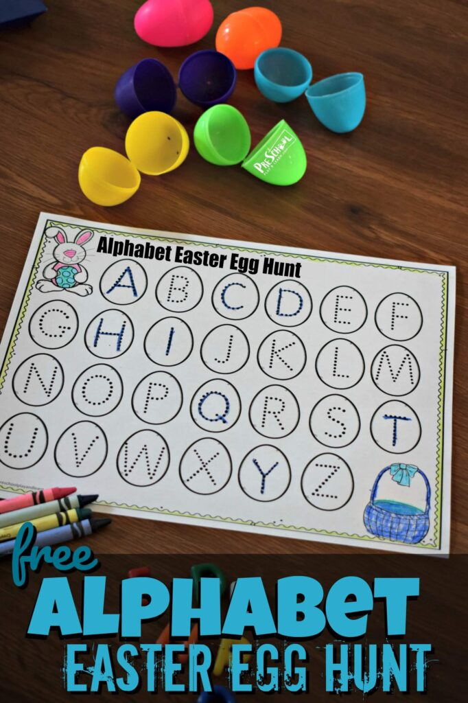 FREE Alphabet Easter Egg Hunt- super cute alphabet worksheets combined with an Easter egg activity for kids to practice letter recognition. This is such a fun, NO PREP educational Easter activity for preschool and kindergarten age kids #easter #preschool #kindergarten