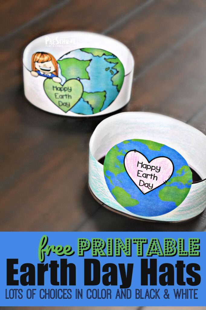 FREE Printable Earth Day Hats - super cute earth day activity for toddler, preschool, and kindergarten age kids! Makes a cute Earth Day Craft. #earthday #craftsforkids #preschool
