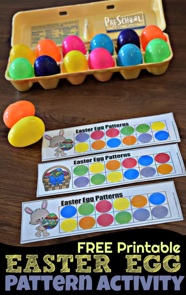 FREE Easter Egg Pattern Activity - this super cute hands on math activity for preschoolers and kindergarten age students is a fun way to practice visual discrimination with an easy Easter theme #mathactivity #preschool #easter