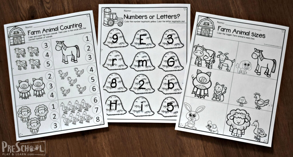 Super cute free printable preschool worksheets with a fun farm theme perfect for spring, summer or fall learning theme