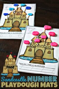 FREE Sandcastle Number Playdough Mats - this free printable activity is a fun way for toddler, preschool, and kindergarten age kids to practice numbers 1-15 with a fun summer twist #preschool #playdoughmats #mathactivity