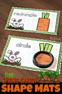 FREE Spring Carrot Shape Mats - this super cute spring or easter themed activity is a great, hands on way for toddler, preschool, and kindergarten age kids to learn shapes #shapes #preschool #playdoughmats