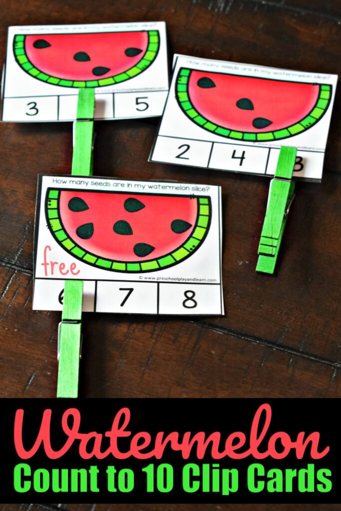 FREE Watermelon Count to 10 Clip Cards- this free printable, LOW PREP activity is a fun way for preschool, prek, and kindergarten age kids to practice counting with a cute summer theme #preschool #counting ##mathactivity
