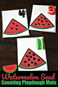 FREE Watermelon Seed Counting Playdough Mats- free printable activity for summer learning and practicing numbers 1-15. This math activity for preschoolers, toddler, and kindergarten is sure to be a hit! #playdough #preschool #counting