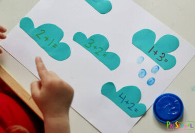 hands on math activity for preschoolers to practice addition